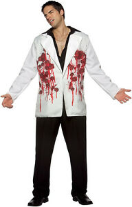 Bullets Blazer White Gangster Scarface Fancy Dress Up Halloween