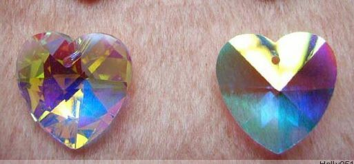 24Pcs 14mm AB Heart-shaped Top quality crystal glass beads jewelry making DIY