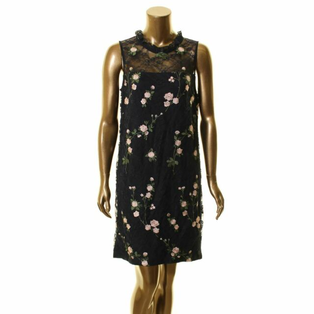 KARL LAGERFELD PARIS NEW Women/'s Navy Floral Embroidered Lace Dress 10 TEDO