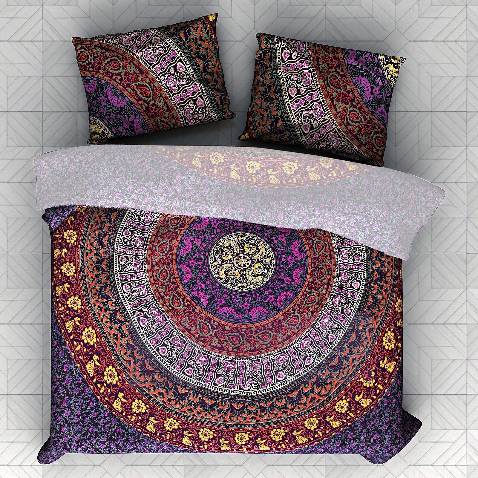 Indian Handmade Mandala Duvet Doona Quilt Cover Queen Size Bedding Set Comforter