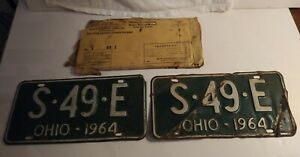 Vintage-Pair-of-1964-Ohio-License-Plate-Green-S49E