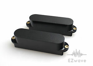 2 x closed satin black single coil sized humbucker pickup cover for strat guitar ebay. Black Bedroom Furniture Sets. Home Design Ideas