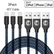 3 Pack 3 6 10 FT Lightning Cable iPhone X 8 7 SE Heavy Duty Charging Cord USB