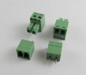 Details about 10pcs 2 Pin/Way Pitch 3 81mm Screw Terminal Block Connector  Green Pluggable Type