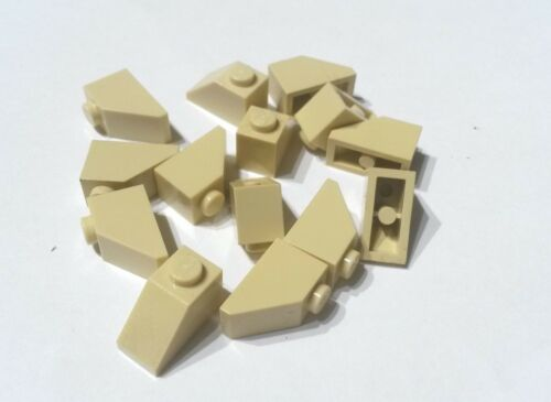 14x Sand Coloured Lego 1 x 2 Sloped Bricks, used condition (N142)