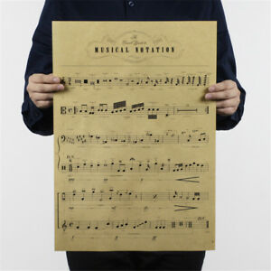 musical-notation-kraft-paper-posters-customer-bedroom-background-wall-stick-HU