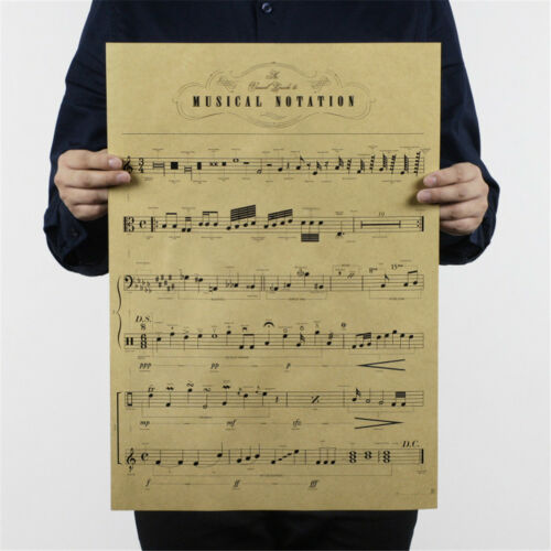 musical notation kraft paper posters customer bedroom background wall sticker  X