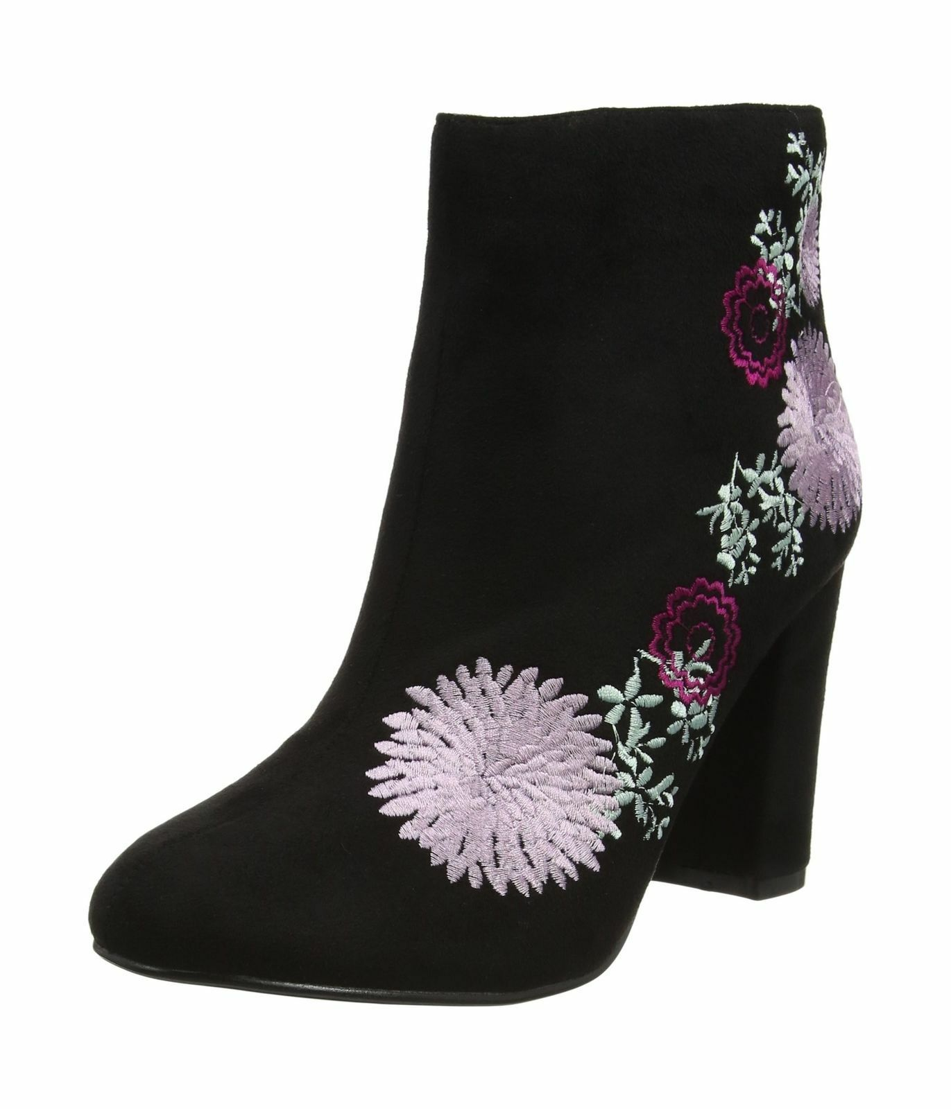 Ladies Black Floral Embroided Dolics FeRlicity Heeled Ankle Boots
