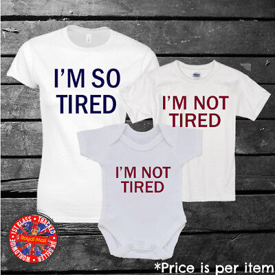 Dad and Baby Matching White T-Shirt and Infant T-shirt Set I Am Tired