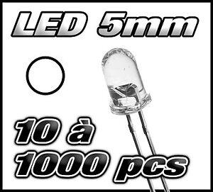 """E413# """"Livraison gratuite"""" LED blanche 5mm de 10 à 1000pcs  white blanc LED"""