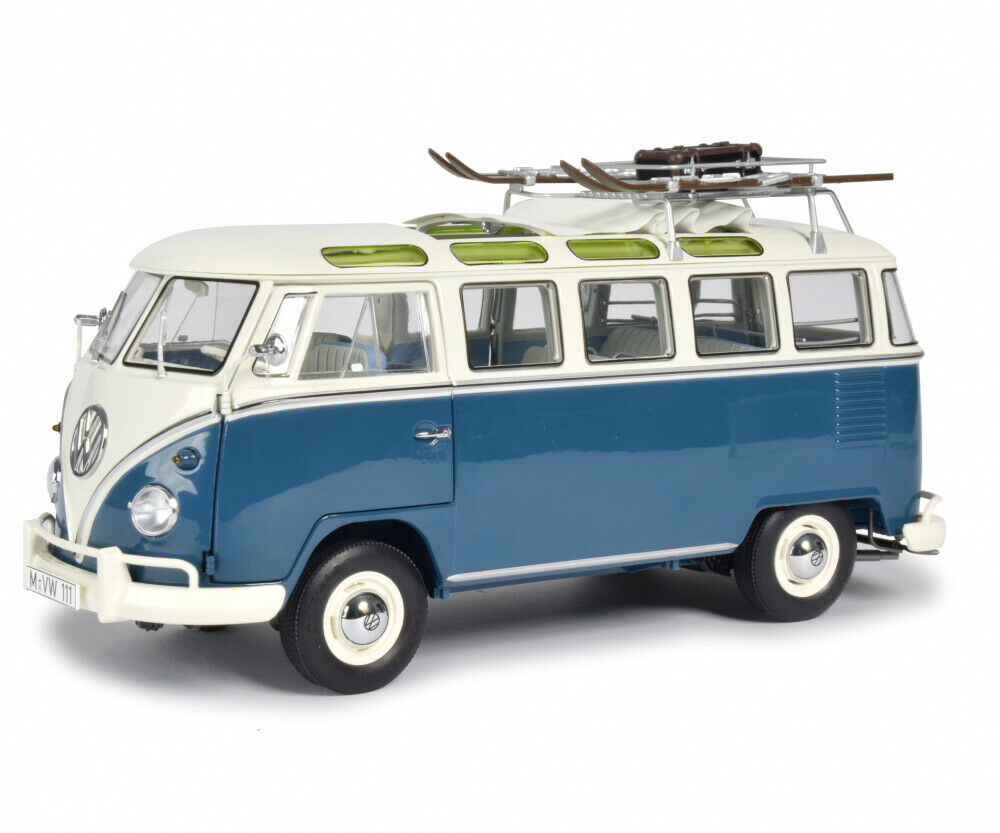 VOLKSWAGEN T1B T1B T1B SAMBA BUS  WINTERSPORT  blueE LTD 1 18 DIECAST BY SCHUCO 450037600 93f690