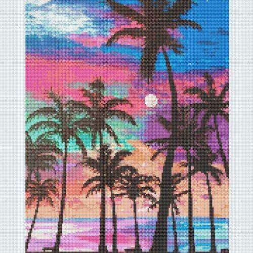 5D Diamond Painting Full Drill Embroidery Cross Stitch Kits Coconut Tree Decor