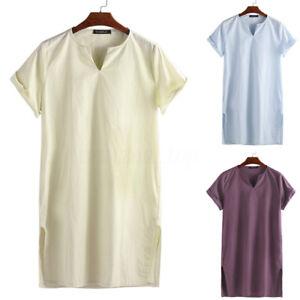 Mens-Linen-Short-Sleeve-Kaftan-Shirt-Loose-Casual-V-Neck-Tees-Tops-Holiday-Dress