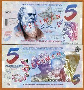 SPECIMEN-Kamberra-Kingdom-5-Numismas-2005-UNC-Darwin