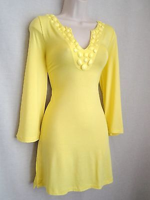 YELLOW BEADED SUMMER/BEACH DRESS/COVER-UP - NEW - SIZES 12/14 16/18 20/22
