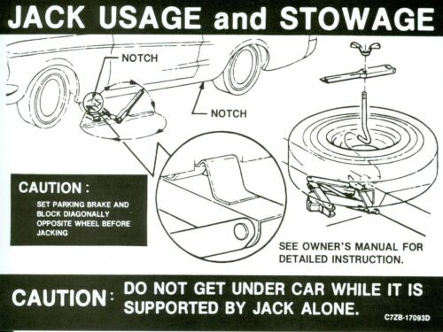 1967 68 MUSTANG JACK INSTRUCTION DECAL