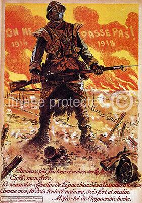 Vintage French WW2 Military 11x17 Poster On Ne Passe Pas