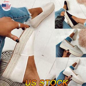 US-Women-Flat-Platform-Peep-Toe-Sandals-Espadrilles-Ankle-Strap-Pumps-Slip-On