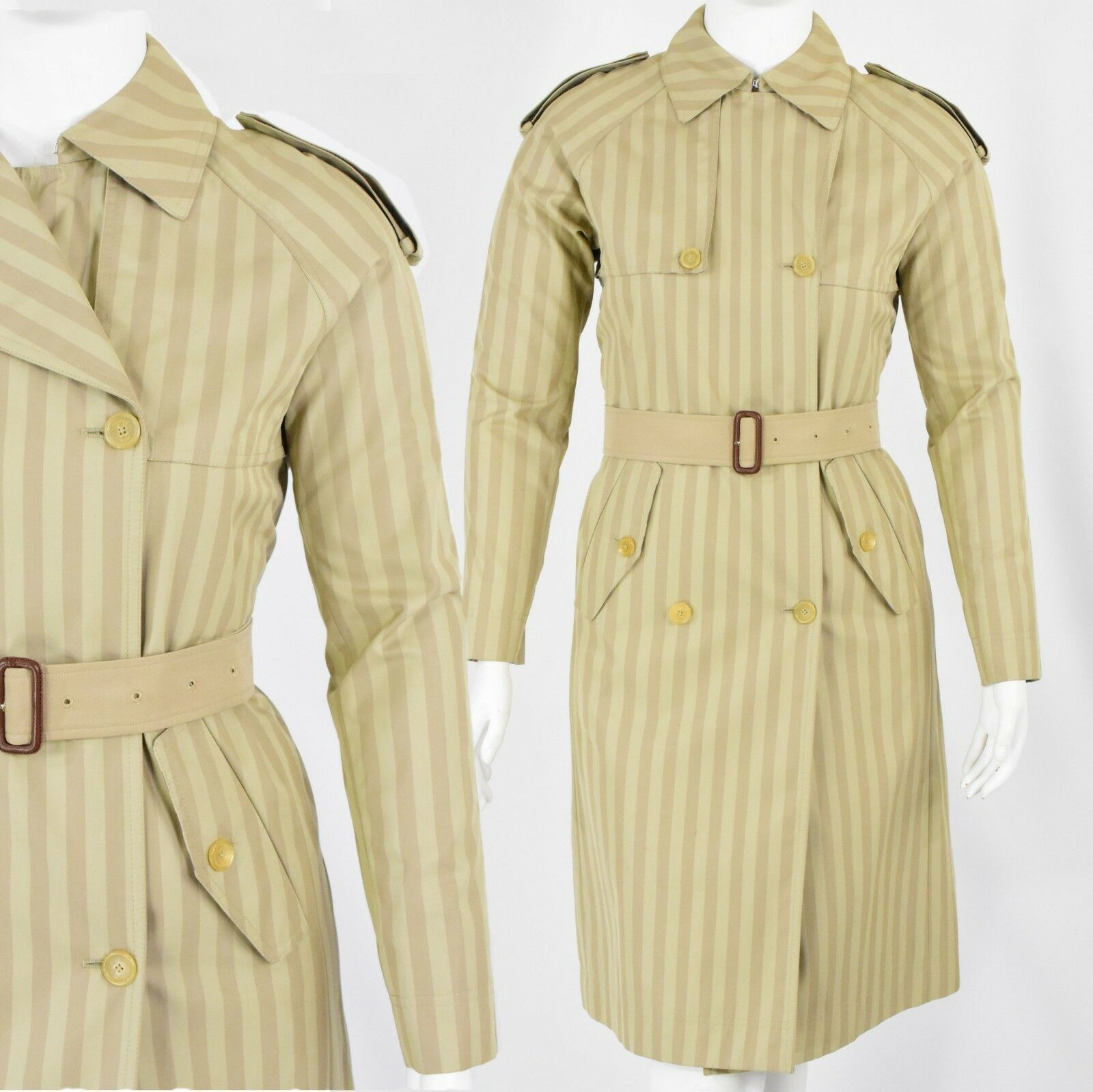 Asprey London Striped Trench Coat Designer Military Double Breasted Size L 14