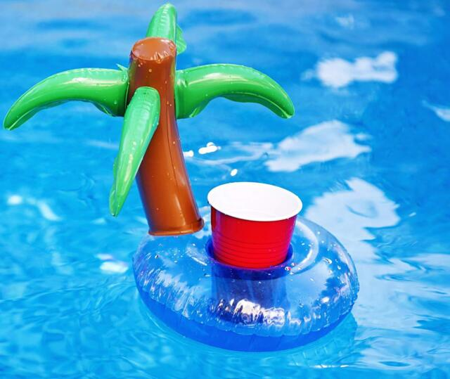 New Palm Tree Drink Can Holder Beer Inflatable Coaster  Rafts Pool Parties