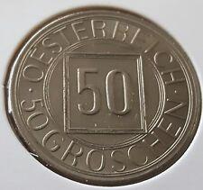ÖSTERREICH: 50 GROSCHEN 1934, 1. TYP, SOG. NACHTSCHILLING, (Alb03I05), F. STGL.