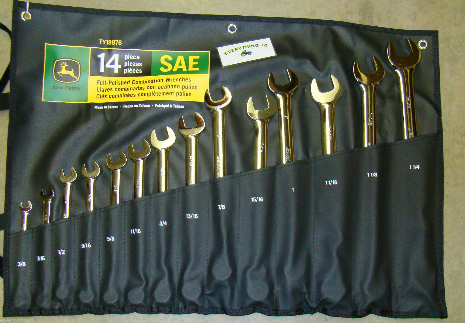 John Deere SAE Full-Polished Combination Wrench Set (14 piece set) - TY19976. Buy it now for 156.57
