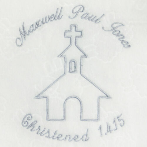 Personalised Embroidered Baby Fleece Blanket Christening Girls Boys Church Gift