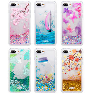 new styles 4d2de e8217 Details about For iPhone 6 7 Plus Bling Dynamic Liquid Glitter Quicksand  Protective Case Cover