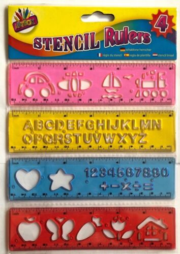 Kids Stencils Set texte Creativity Alphabet Numbers Letters Craft Rulers Poster