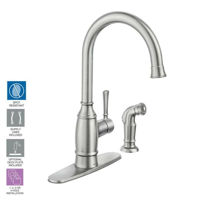 Moen Noell Single Handle Standard Kitchen Faucet With Side Sprayer