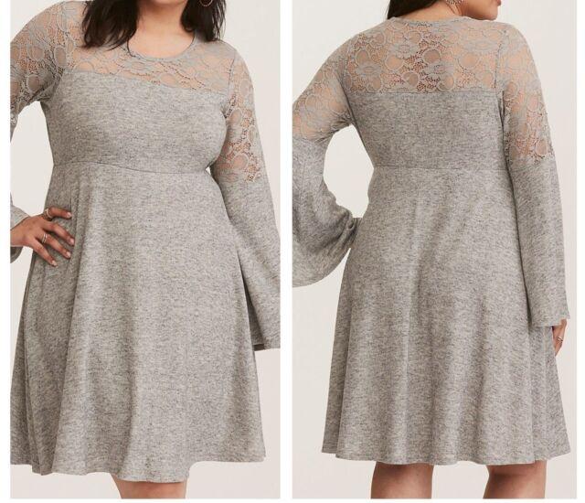 5bbca0a176 Torrid Gray Bell Sleeve Lace Inset Woven Skater Dress 3X 22 24  44758