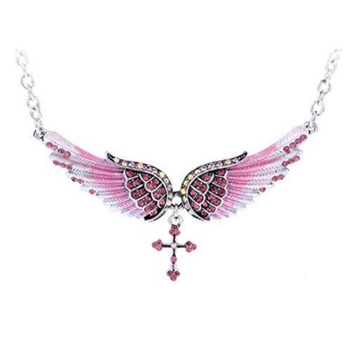 Women Pullover Long Chaîne fairys Aile Pendentif Croix Fête Cristal Collier S