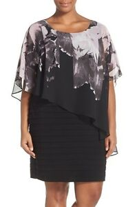 572f8534ed05 Image is loading Adrianna-Papell-Print-Capelet-Banded-Jersey-Black-Dress-