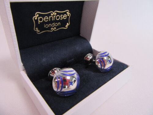 Penrose of London Designer Triumph Cufflinks Blue In Laid Enamel RRP £115 #CL54