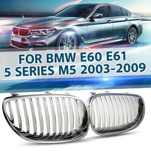Paar-Chrom-Nieren-Frontgrill-Kuehlergrill-Sportsgrill-Fuer-BMW-E60-E61-M5-5er-2003