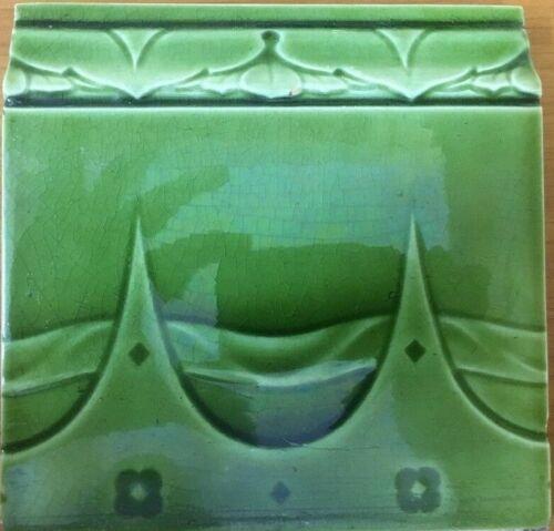 RARE COLLECTIBLE VINTAGE ENGLAND-ANTIQUE ART NOUVEAU MAJOLICA TILE C1900