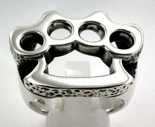 NEW KNUCKLE DUSTER 925 STERLING SILVER BIKER BAND MENS RING GOTHIC ROCKER PUNK