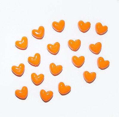 100 Neon Orange Hearts Shaped Pony Beads for crafts hair kandi jewelry