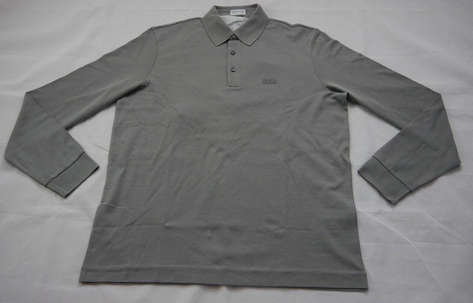 Hugo Boss Pima Cotton Solid grau Polo Sweater Sz L BNWT 100% Authentic