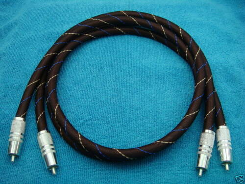 6 Pure Silver Interconnect Audio CD Player Bass AUX Cable w Silver RCA CD 1M