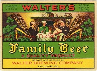 Unused 1960s Metallic Fauerbach Madison Beer Label Tavern Trove Wisconsin