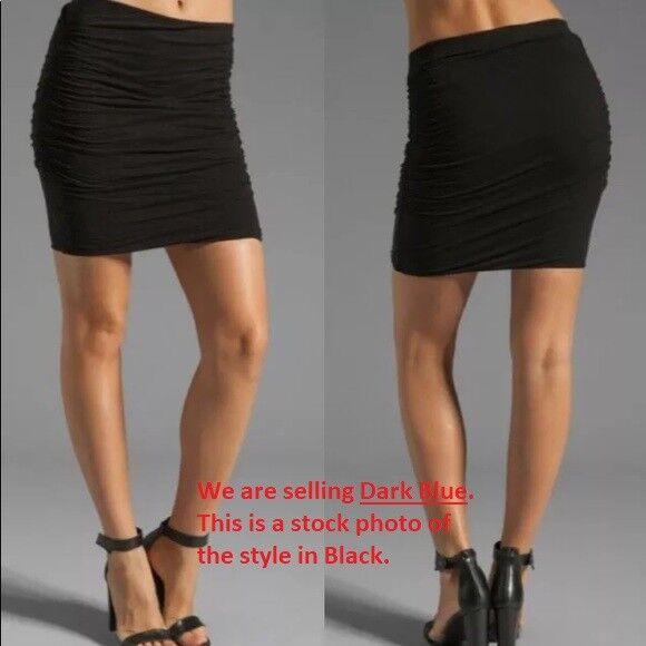 James Perse  145 Cotton  Modal Ruched Twist Skirt in Dark bluee Size  M (2)