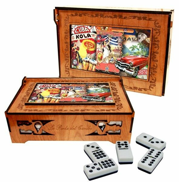 Professional size domino set on carved wood box