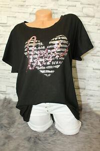 Italy-New-Long-puder-Oversized-T-Shirt-schwarz-Herz-rosa-Gr-36-38-40-42-blogger