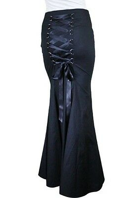 GOTHIC LONG fishtail Black Corset Skirt Victorian Vintage witch wicca 36810
