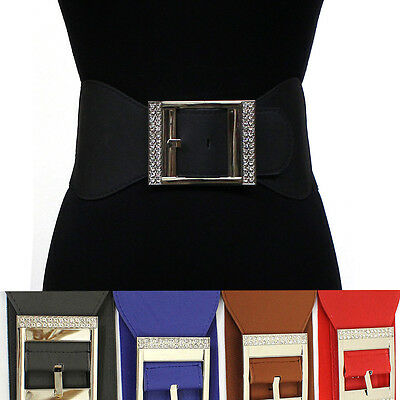 classy Women Elastic Waist Wide Belt Stretch Silver Metal Hook RHINESTONES S~XL