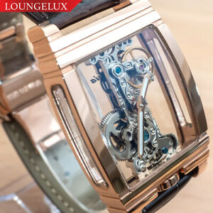 NEU-Herren-Klassische-Schwungrad-Bruecke-Luxus-Skelett-Mechanische-Leder-Band-Watch