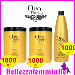 Kit Fanola 2 Shampoo 1000ml + Maschera 1000 ml ORO THERAPY gold illuminating