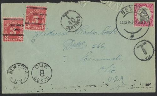 SOUTH AFRICA US 1931 BENONI POSTAGE DUE T& T 40 CENTIMES NEW YORK DUE 8 CENTS TO