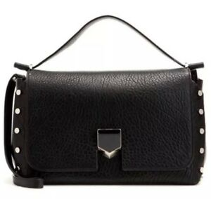 9787ef7dafde8 JIMMY CHOO BLACK GRAINY LEATHER LOCKETT M HAND SHOULDER BAG LARGE ...